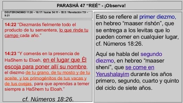 """PARASHÁ 47 """"REÉ"""" - ¡Observa!  14:22 """"Diezmarás fielmente todo el  producto de tu sementera, lo que rinde tu  campo cada añ..."""