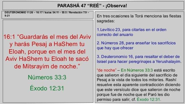 """PARASHÁ 47 """"REÉ"""" - ¡Observa!  16:1 """"Guardarás el mes del Aviv  y harás Pesaj a HaShem tu  Eloah, porque en el mes del  Avi..."""