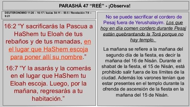"""PARASHÁ 47 """"REÉ"""" - ¡Observa!  16:2 """"Y sacrificarás la Pascua a  HaShem tu Eloah de tus  rebaños y de tus manadas, en  el l..."""