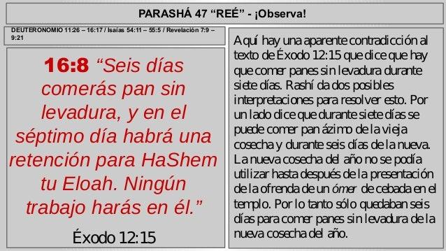 """PARASHÁ 47 """"REÉ"""" - ¡Observa!  16:8 """"Seis días  comerás pan sin  levadura, y en el  séptimo día habrá una  retención para H..."""
