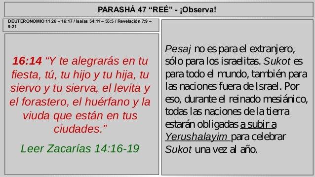 """PARASHÁ 47 """"REÉ"""" - ¡Observa!  16:14 """"Y te alegrarás en tu  fiesta, tú, tu hijo y tu hija, tu  siervo y tu sierva, el levit..."""