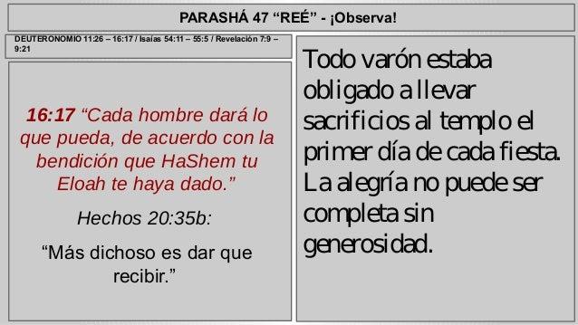 """PARASHÁ 47 """"REÉ"""" - ¡Observa!  16:17 """"Cada hombre dará lo  que pueda, de acuerdo con la  bendición que HaShem tu  Eloah te ..."""