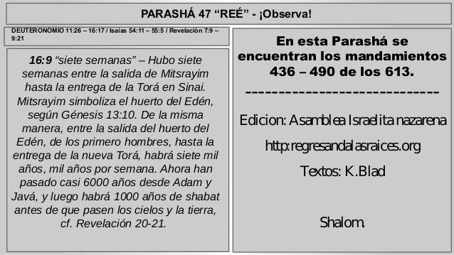"""PARASHÁ 47 """"REÉ"""" - ¡Observa!  16:9 """"siete semanas"""" – Hubo siete  semanas entre la salida de Mitsrayim  hasta la entrega de..."""