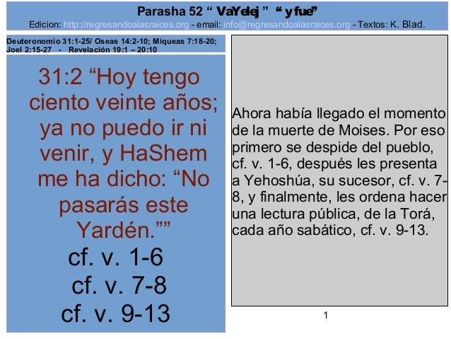 "Edicion: http://regresandoalasraices.org - email: info@regresandoalasraices.org - Textos: K. Blad.  1  Parasha 52 "" VaYele..."