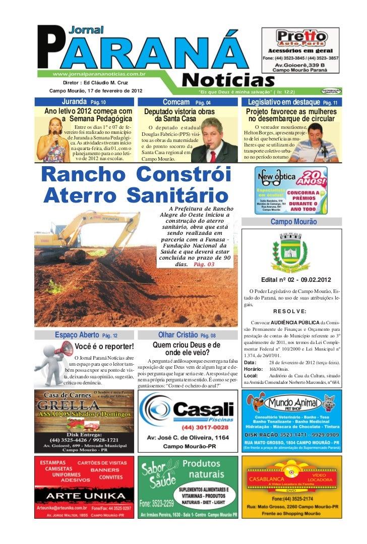 """Diretor : Ed Cláudio M. Cruz Campo Mourão, 17 de fevereiro de 2012                                    """"Eis que Deus é minh..."""
