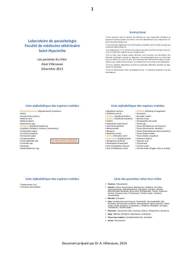 Document préparé par Dr A. Villeneuve, 2014 1 Laboratoire de parasitologie Faculté de médecine vétérinaire Saint-Hyacinthe...