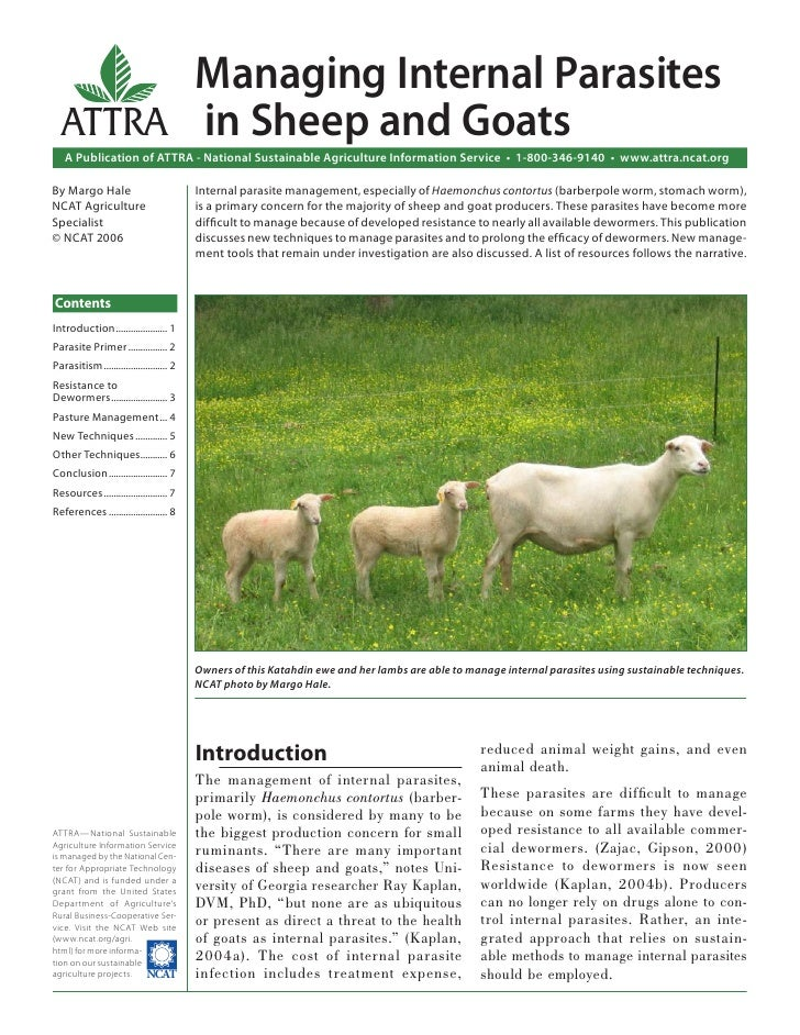 Managing Internal Parasites  ATTRA in Sheep and Goats   A Publication of ATTRA - National Sustainable Agriculture Informat...