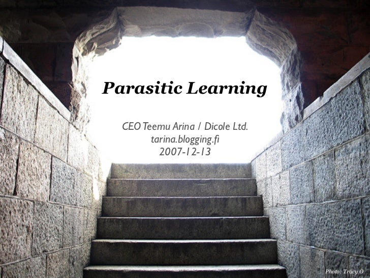 Parasitic Learning    CEO Teemu Arina / Dicole Ltd.         tarina.blogging.fi           2007-12-13                        ...