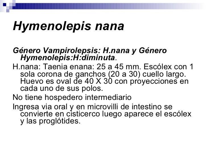Hymenolepis nana <ul><li>Género Vampirolepsis: H.nana y Género Hymenolepis:H:diminuta . </li></ul><ul><li>H.nana: Taenia e...