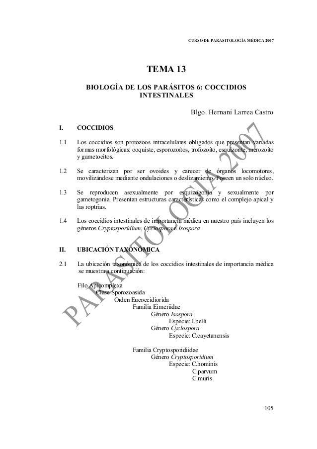 CURSO DE PARASITOLOGÍA MÉDICA 2007                                 TEMA 13         BIOLOGÍA DE LOS PARÁSITOS 6: COCCIDIOS ...