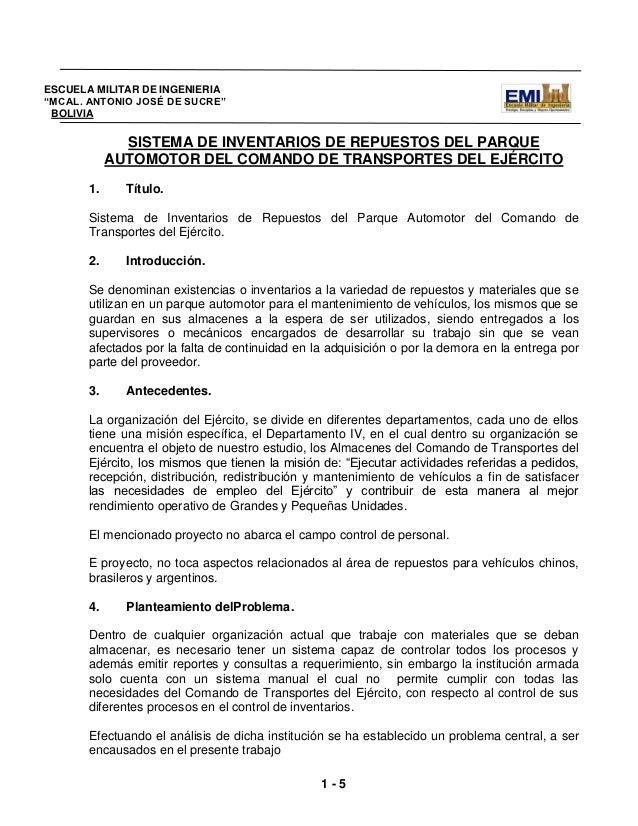 """ESCUELA MILITAR DE INGENIERIA""""MCAL. ANTONIO JOSÉ DE SUCRE"""" BOLIVIA              SISTEMA DE INVENTARIOS DE REPUESTOS DEL PA..."""
