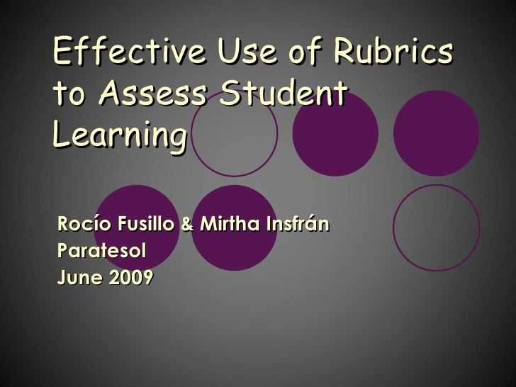 Effective Use of Rubrics to Assess Student Learning  Rocío Fusillo & Mirtha Insfrán Paratesol June 2009