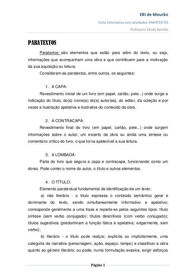 EBI de Mourão                                          Ficha Informativa com atividades: PARATEXTOS                       ...