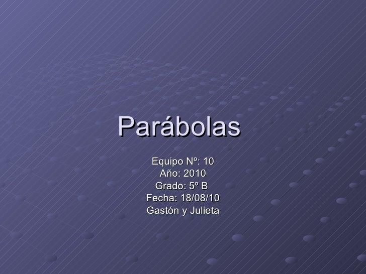 Parábolas  Equipo Nº: 10 Año: 2010 Grado: 5º B  Fecha: 18/08/10 Gastón y Julieta