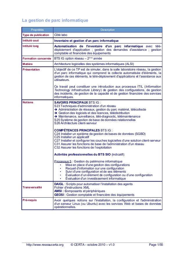 La gestion de parc informatique Propriétés Description Type de publication Côté labo Intitulé cout Inventaire et gestion d...