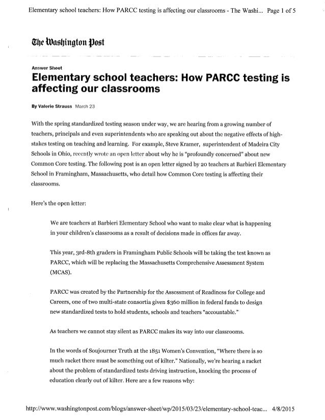 elementary school teachers how parcc testing