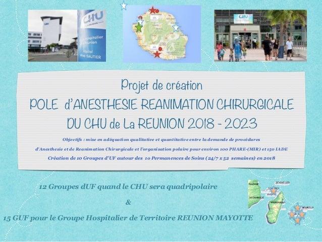 Projet de création POLE d'ANESTHESIE REANIMATION CHIRURGICALE DU CHU de La REUNION 2018 - 2023 Objectifs : mise en adéquat...