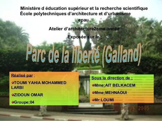 Ministère d éducation supérieur et la recherche scientifique École polytechniques d'architecture et d'urbanisme epau Ateli...