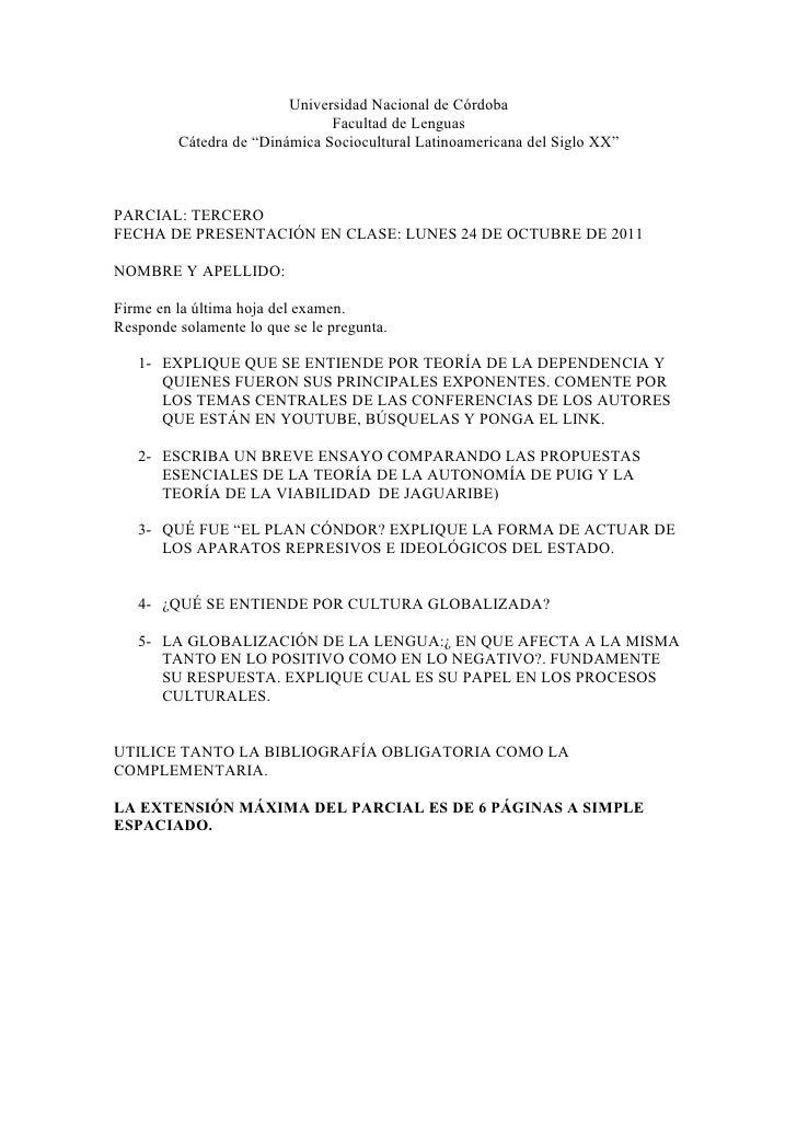 "Universidad Nacional de Córdoba                               Facultad de Lenguas         Cátedra de ""Dinámica Sociocultur..."