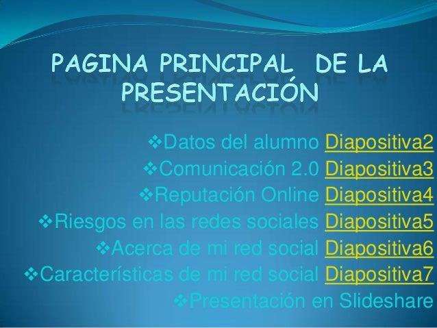 Datos del alumno Diapositiva2Comunicación 2.0 Diapositiva3Reputación Online Diapositiva4Riesgos en las redes sociales ...