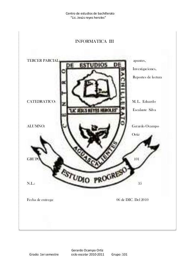 """Centro de estudios de bachillerato                          """"Lic. Jesús reyes heroles""""                             INFORMA..."""