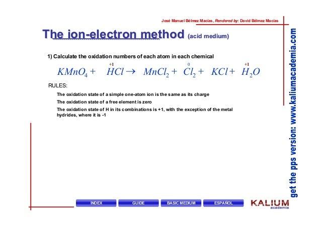 Hcl kmno4 lc2 mncl2 kcl h2o
