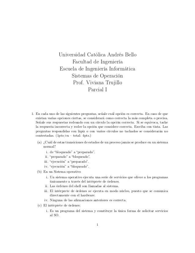 Universidad Católica Andrés Bello Facultad de Ingeniería Escuela de Ingeniería Informática Sistemas de Operación Prof. Viv...
