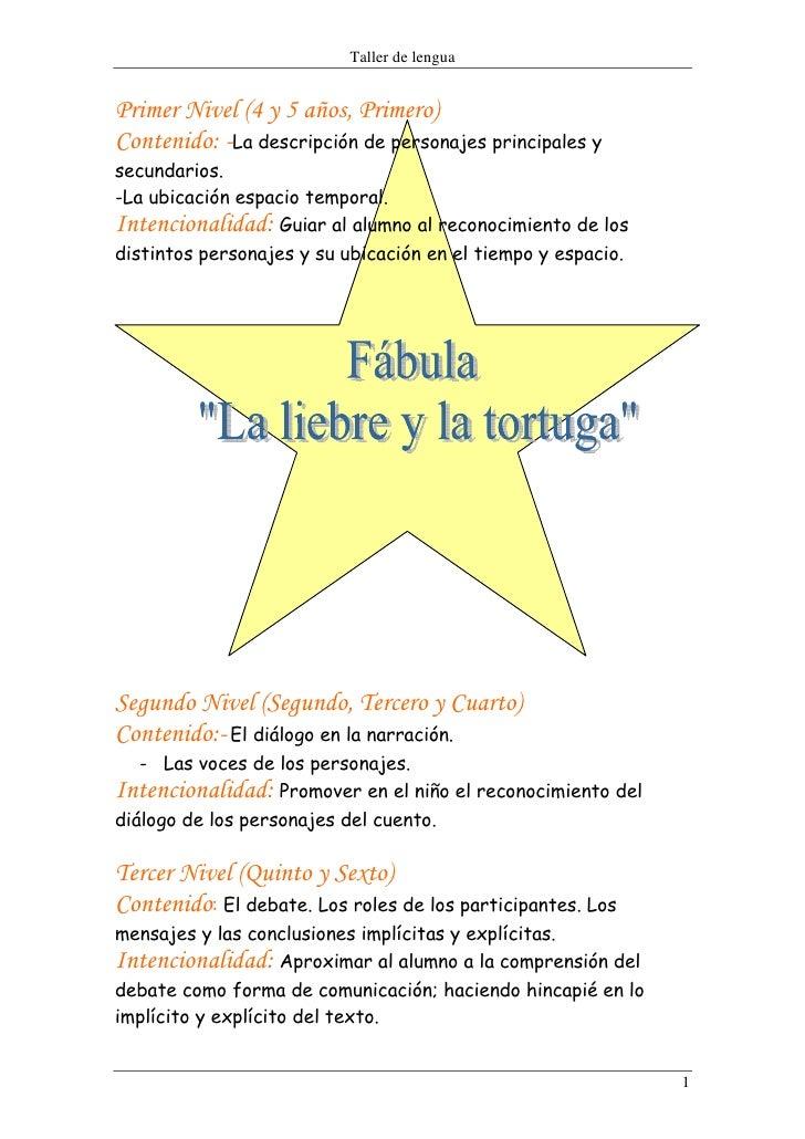 Taller de lengua   Primer Nivel (4 y 5 años, Primero) Contenido: -La descripción de personajes principales y secundarios. ...