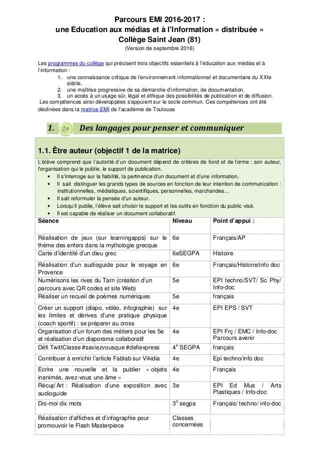 Parcours EMI 2016-2017 : une Education aux médias et à l'Information « distribuée » Collège Saint Jean (81) (Version de se...