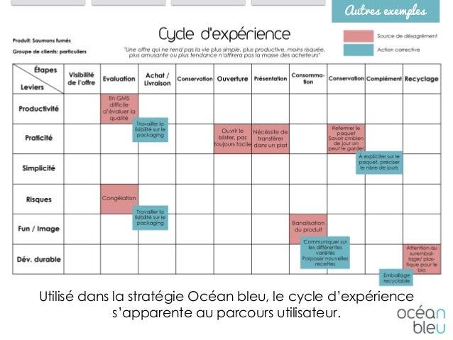 Autres exemples Utilisé dans la stratégie Océan bleu, le cycle d'expérience s'apparente au parcours utilisateur.