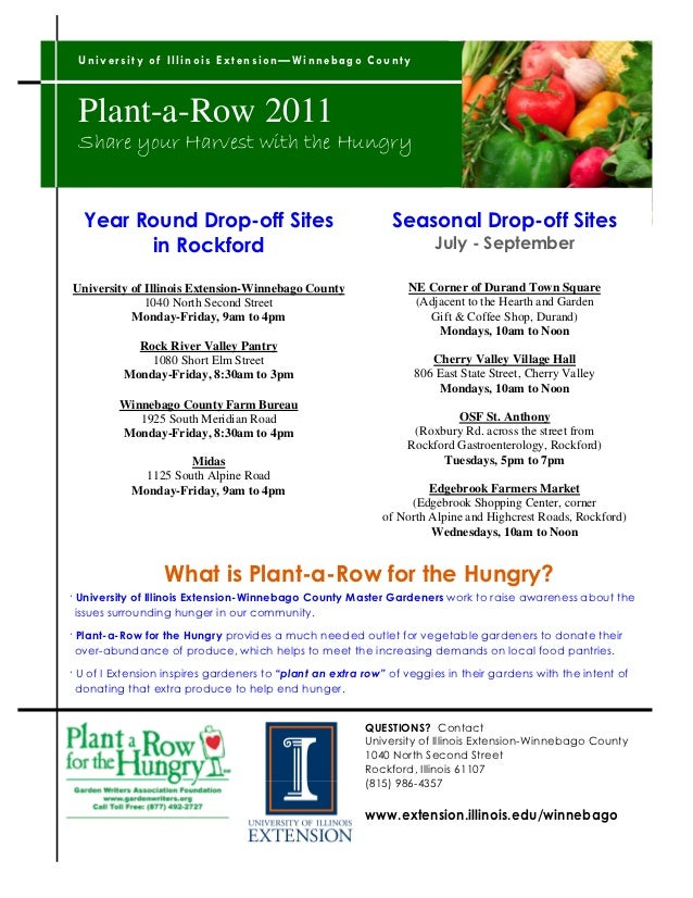 U n iv e r s it y o f Il lin o i s E x t en si o n —W in n eb a g o C o u n ty Plant-a-Row 2011 Share your Harvest with th...