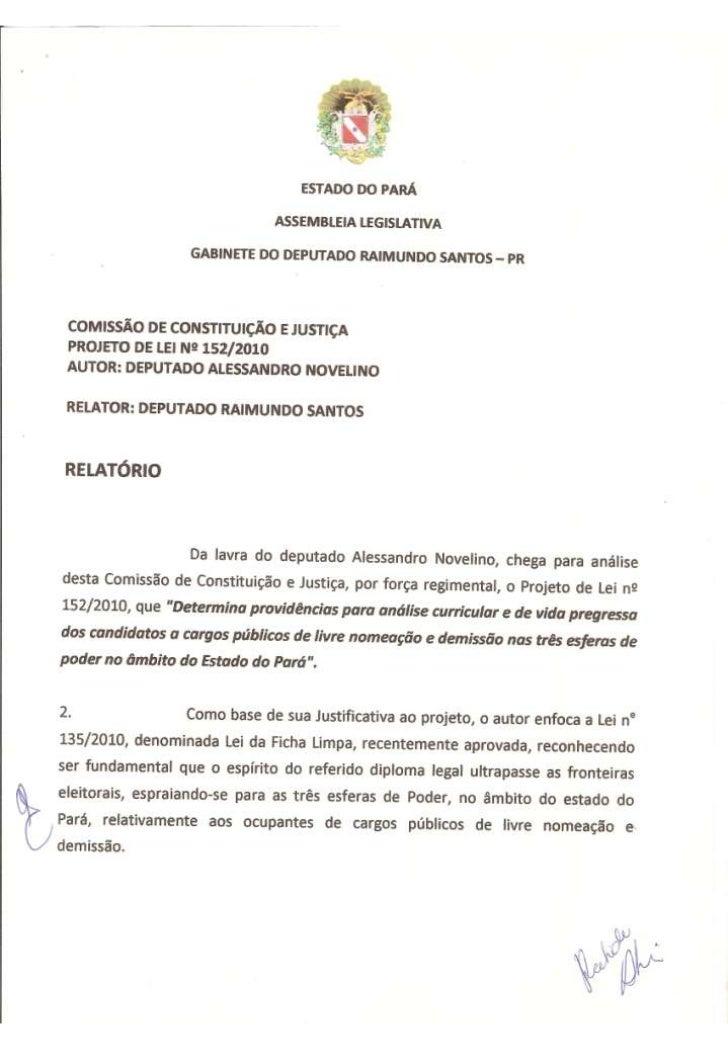 Projeto de Lei nº 152/2010