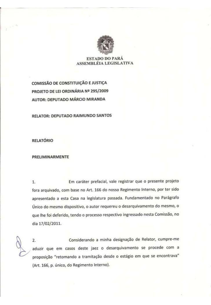 Projeto de Lei Ordinária nº 295/2011