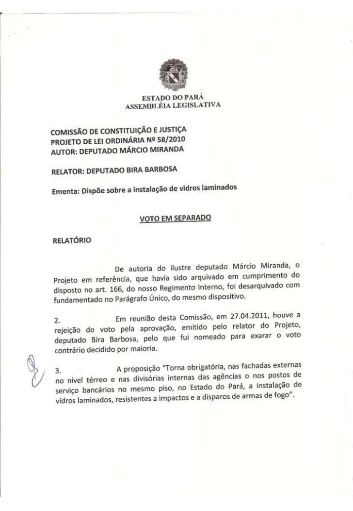 Projeto de Lei Ordinária nº 58/2010