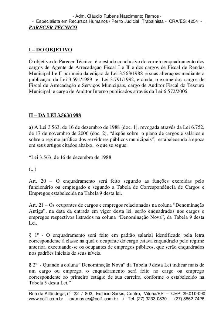 - Adm. Cláudio Rubens Nascimento Ramos -  - Especialista em Recursos Humanos / Perito Judicial Trabalhista - CRA/ES: 4254 ...