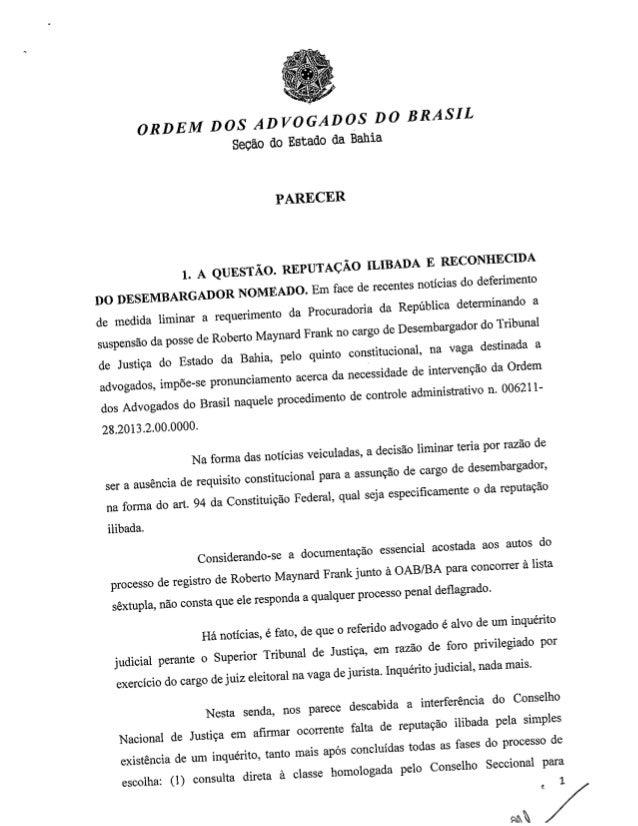 Parecer da Procuradoria de Prerrogativas - Caso Roberto Frank
