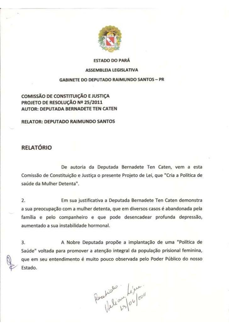 Projeto de Resolução nº 25/2011