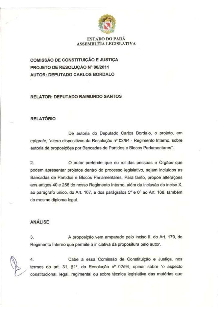 Projeto de Resolução nº 06/2011