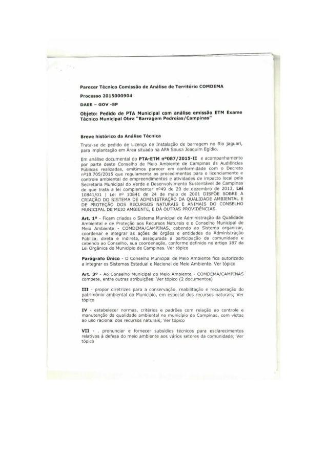 Parecer Técnico Comissão de Análise de Território COMDEMA  Processo 2015000904 DAEE - Gov -SP  Objeto:  Pedido de PTA Muni...