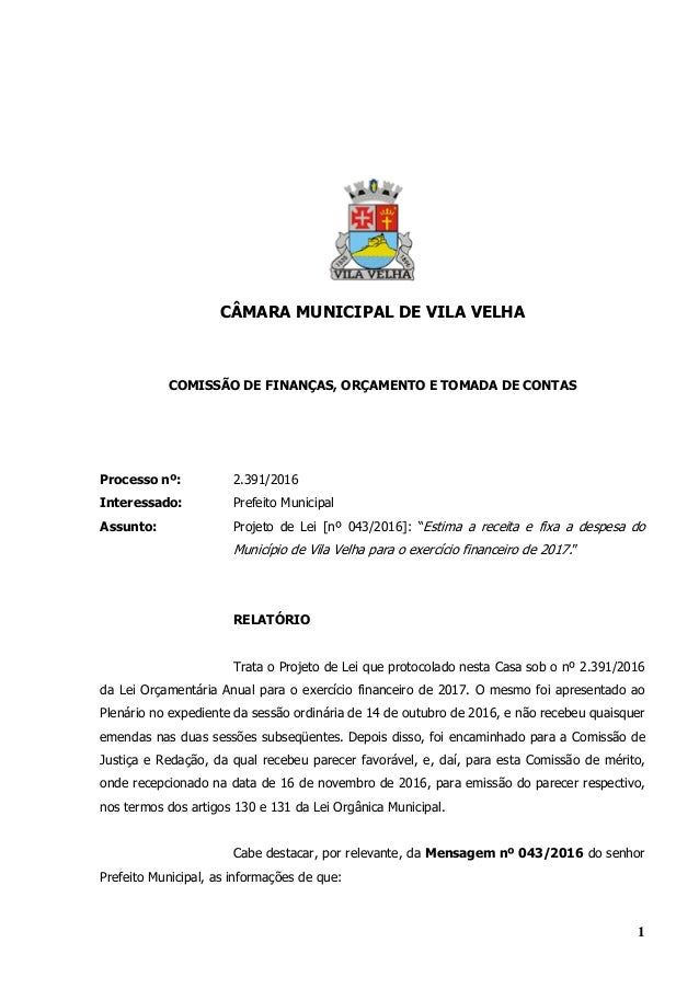 f5449147fa Parecer da Comissão de Finanças sobre a Lei Orçamentária Anual (LOA 2…