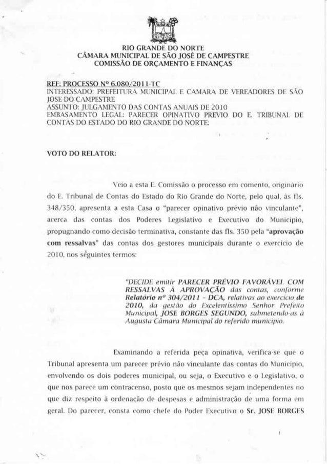 CÁMARA MUNICIPAL DE SÃO JOSÉ DE CAMPESTRE COMISSÃO DE ORÇAMENTO E FINANÇAS  REF:  PRQÇES_S_Q_I§Jf_6_.0§_0 [2Q l l -TC  IN'...