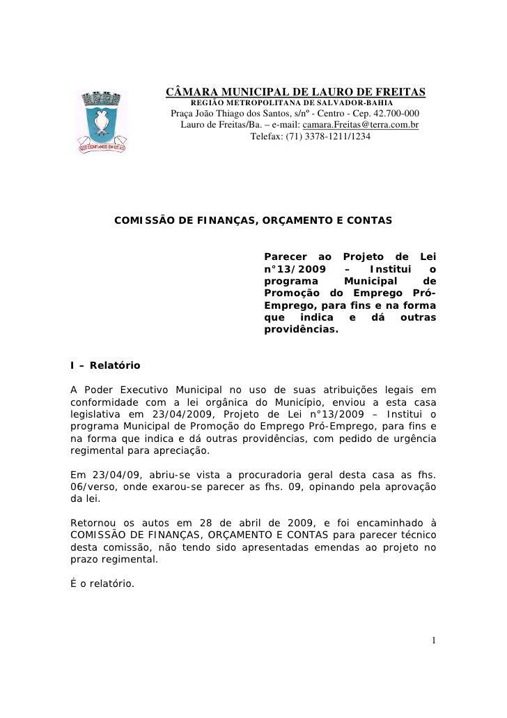CÂMARA MUNICIPAL DE LAURO DE FREITAS                       REGIÃO METROPOLITANA DE SALVADOR-BAHIA                   Praça ...