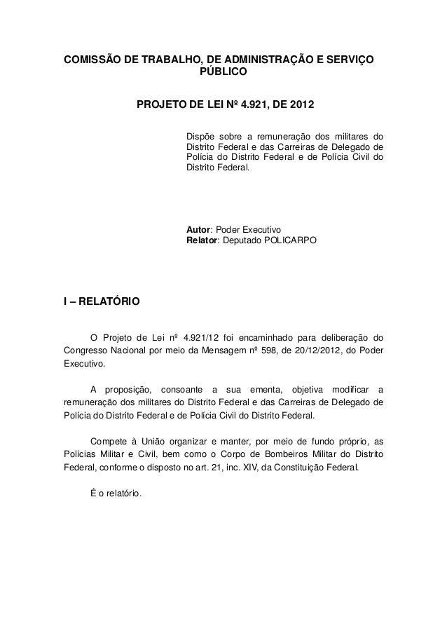 COMISSÃO DE TRABALHO, DE ADMINISTRAÇÃO E SERVIÇO                    PÚBLICO                  PROJETO DE LEI Nº 4.921, DE 2...