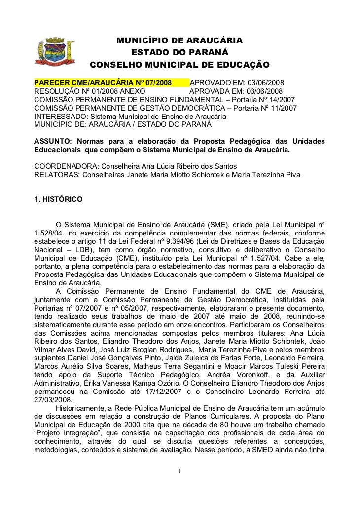 MUNICÍPIO DE ARAUCÁRIA                      ESTADO DO PARANÁ                CONSELHO MUNICIPAL DE EDUCAÇÃOPARECER CME/ARAU...