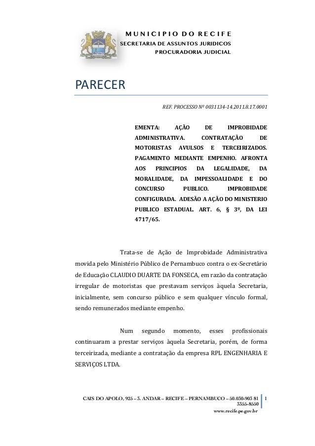 M U N I C I P I O D O R E C I F ESECRETARIA DE ASSUNTOS JURIDICOSPROCURADORIA JUDICIAL   CAIS DO APOLO, 925 – 3. ANDAR...