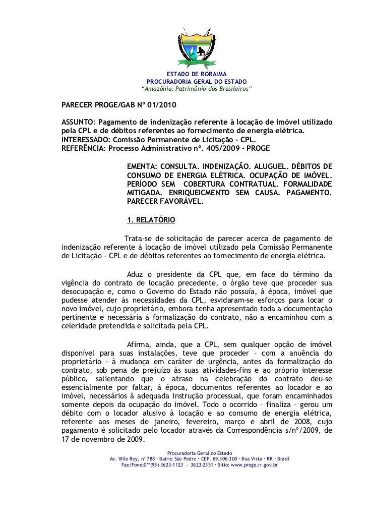 """ESTADO DE RORAIMA                              PROCURADORIA GERAL DO ESTADO                            """"Amazônia: Patrimôn..."""