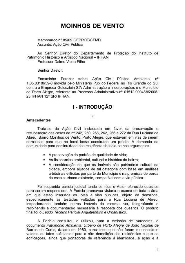 MOINHOS DE VENTO Memorando nº 85/09 GEPROT/CFMD Assunto: Ação Civil Pública Ao Senhor Diretor do Departamento de Proteção ...