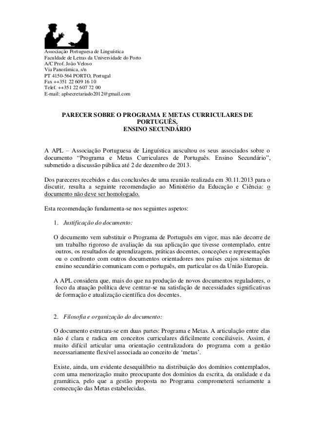 Associação Portuguesa de Linguística Faculdade de Letras da Universidade do Porto A/C Prof. João Veloso Via Panorâmica, s/...
