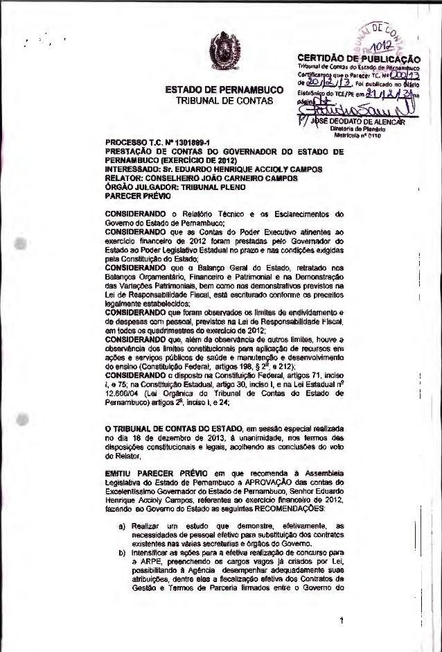 ESTADO DE PERNAMBUCO TRIBUNAL DE CONTAS CERTIDÃO DE PUBUCAÇÃ0 Tribunal de Contas do Estado de P flarn uco Certifica os que...