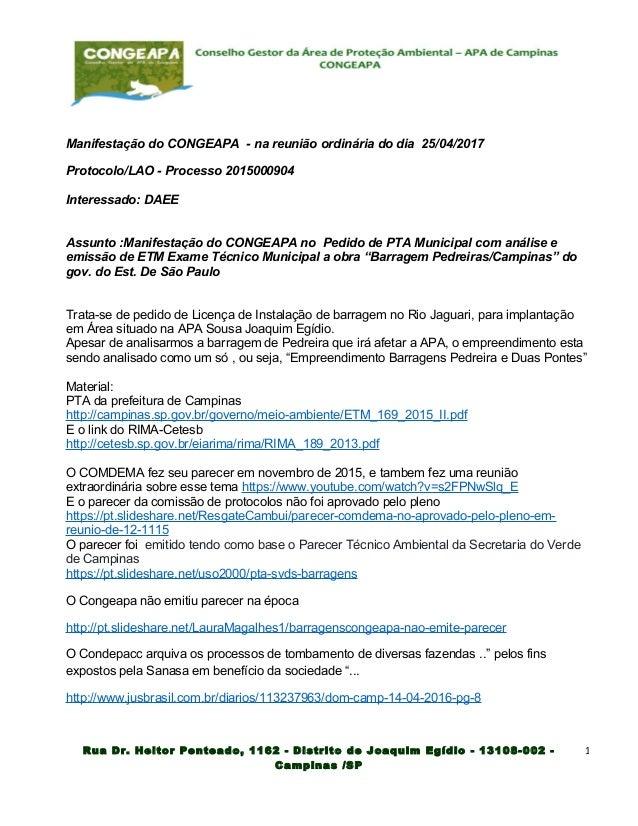 Manifestação do CONGEAPA - na reunião ordinária do dia 25/04/2017 Protocolo/LAO - Processo 2015000904 Interessado: DAEE As...